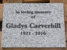 Granite memorial on siver grey granite - Size 225mm x 300mm x 20mm