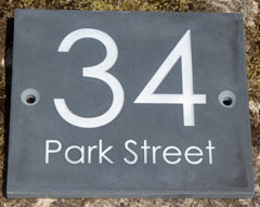 Slate address sign - font - Century Gothic. Ref  1505.SS.029