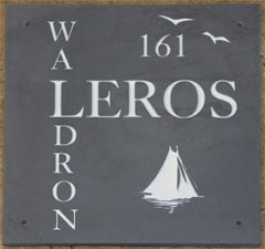 Square slate house sign