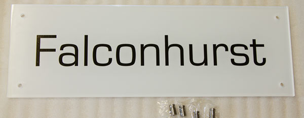Name plate with white backing vinyl