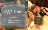Rustic slate place name setting