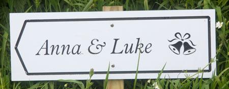deep engraved wedding signs