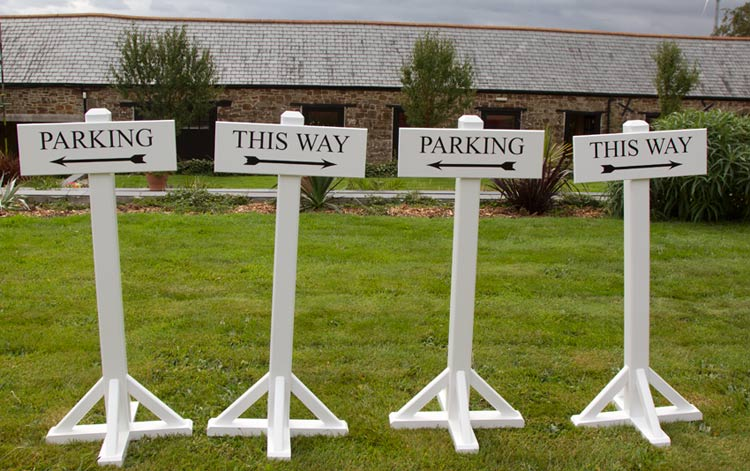 Free standing painted wooden signs