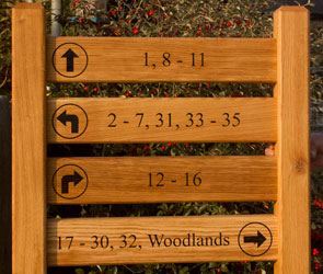 Wooden ladder sign with four signs on two posts