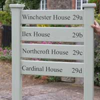 Painted wooden ladder signs