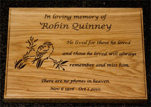 Oak memorial plaque